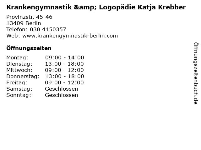 Krankengymnastik & Logopädie Katja Krebber in Berlin: Adresse und Öffnungszeiten