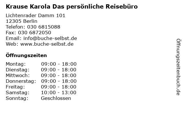 Krause Karola Das persönliche Reisebüro in Berlin: Adresse und Öffnungszeiten