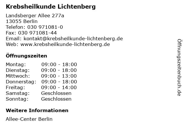 Krebsheilkunde Lichtenberg in Berlin: Adresse und Öffnungszeiten