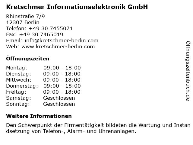Kretschmer Informationselektronik GmbH in Berlin: Adresse und Öffnungszeiten