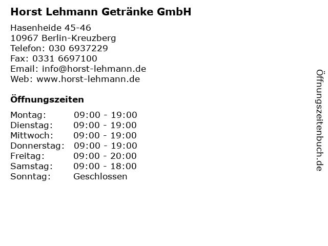 Horst Lehmann Getränke GmbH in Berlin-Kreuzberg: Adresse und Öffnungszeiten