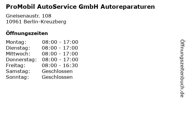 ProMobil AutoService GmbH Autoreparaturen in Berlin-Kreuzberg: Adresse und Öffnungszeiten