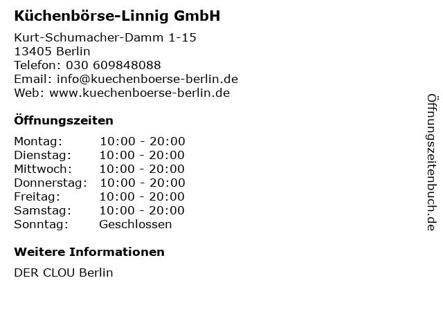 ᐅ Offnungszeiten Kuchenborse Linnig Gmbh Kurt Schumacher Damm 1