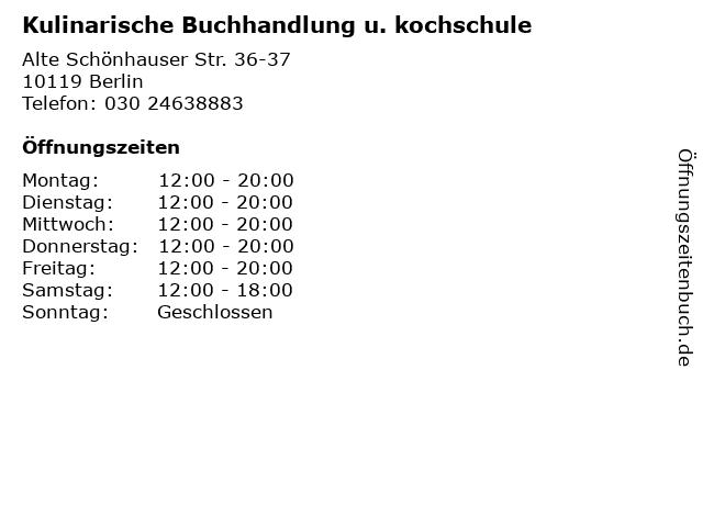 Kulinarische Buchhandlung u. kochschule in Berlin: Adresse und Öffnungszeiten