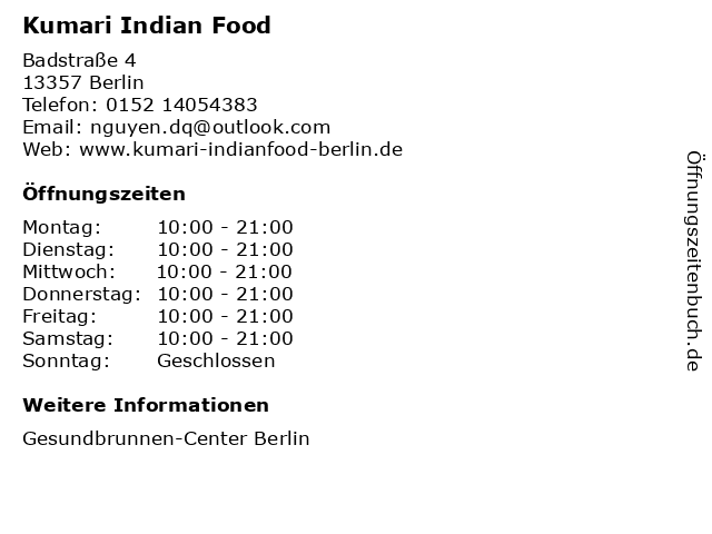 Kumari Indian Food in Berlin: Adresse und Öffnungszeiten