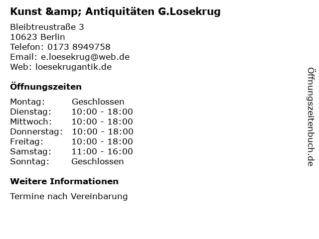 Kunst & Antiquitäten G.Losekrug in Berlin: Adresse und Öffnungszeiten