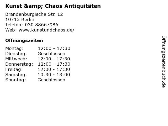 Kunst & Chaos Antiquitäten in Berlin: Adresse und Öffnungszeiten