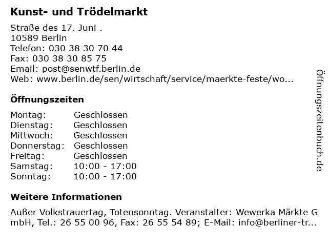 Kunst- und Trödelmarkt in Berlin: Adresse und Öffnungszeiten