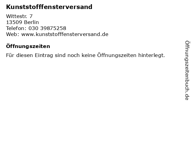 Kunststofffensterversand in Berlin: Adresse und Öffnungszeiten
