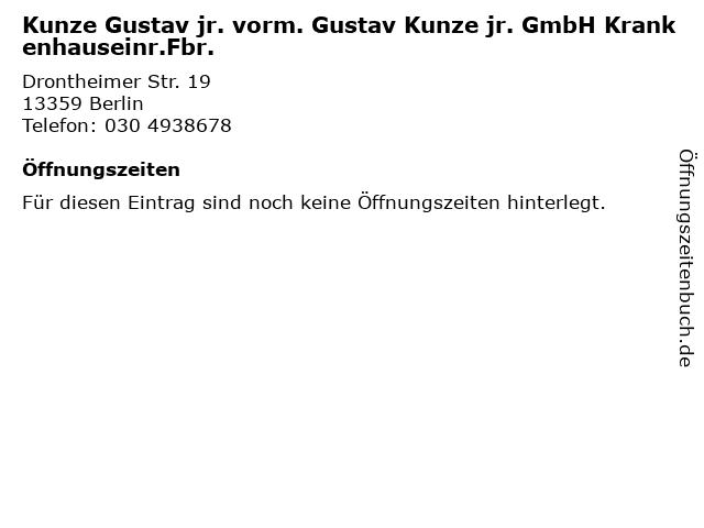 Kunze Gustav jr. vorm. Gustav Kunze jr. GmbH Krankenhauseinr.Fbr. in Berlin: Adresse und Öffnungszeiten
