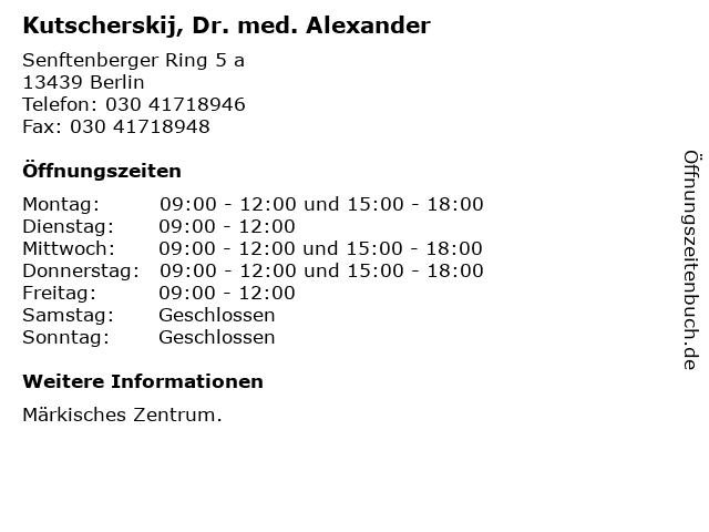 Kutscherskij, Dr. med. Alexander in Berlin: Adresse und Öffnungszeiten