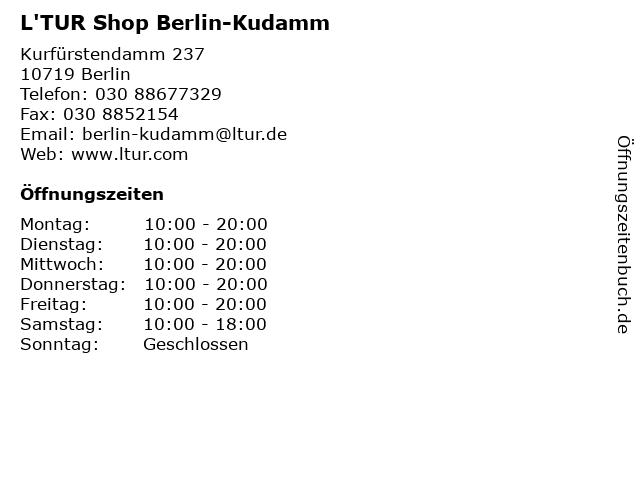 L'TUR Shop Berlin-Kudamm in Berlin: Adresse und Öffnungszeiten