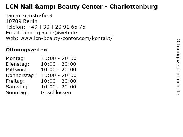 LCN Nail & Beauty Center - Charlottenburg in Berlin: Adresse und Öffnungszeiten