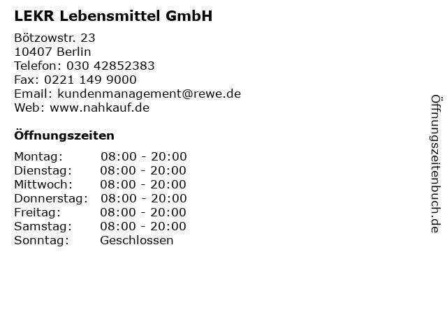 LEKR Lebensmittel GmbH in Berlin: Adresse und Öffnungszeiten