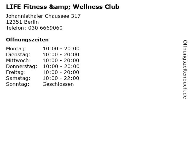 LIFE Fitness & Wellness Club in Berlin: Adresse und Öffnungszeiten
