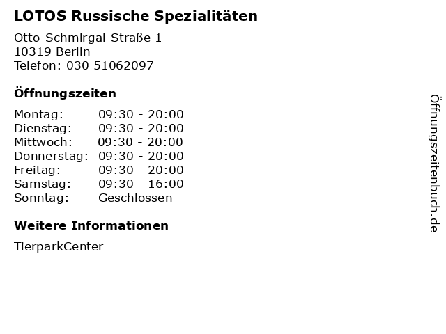 LOTOS Russische Spezialitäten in Berlin: Adresse und Öffnungszeiten