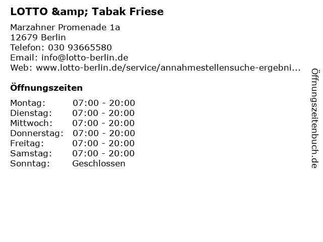 LOTTO & Tabak Friese in Berlin: Adresse und Öffnungszeiten