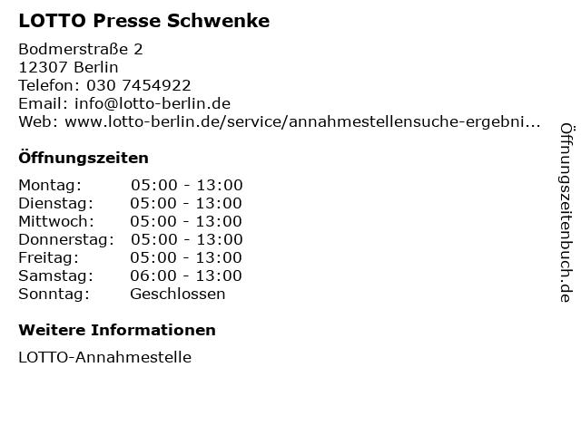 LOTTO Presse Schwenke in Berlin: Adresse und Öffnungszeiten