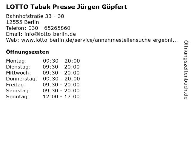 LOTTO Tabak Presse Jürgen Göpfert in Berlin: Adresse und Öffnungszeiten