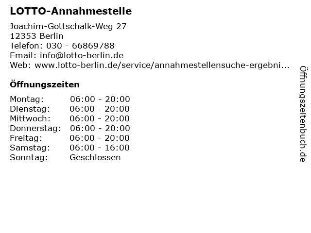 LOTTO-Annahmestelle in Berlin: Adresse und Öffnungszeiten