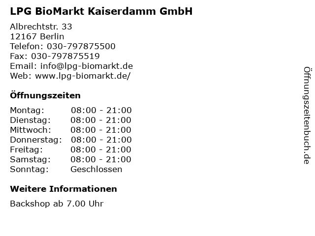 LPG BioMarkt Kaiserdamm GmbH in Berlin: Adresse und Öffnungszeiten
