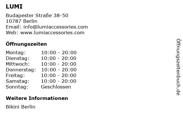 LUMI in Berlin: Adresse und Öffnungszeiten