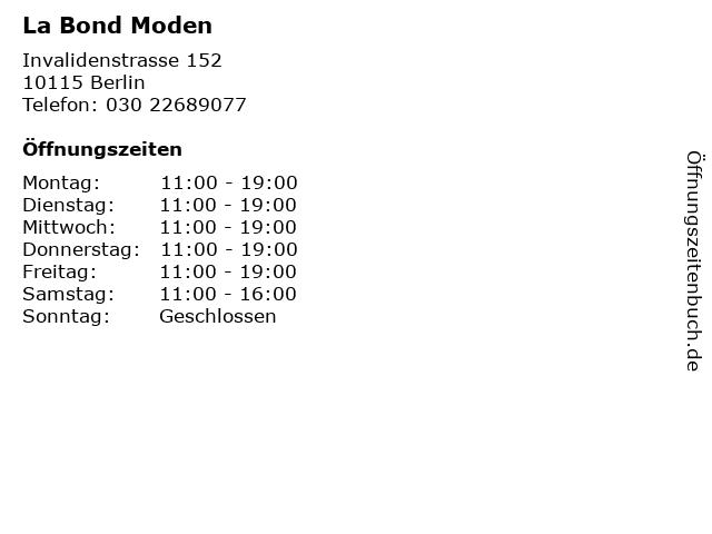 La Bond Moden in Berlin: Adresse und Öffnungszeiten