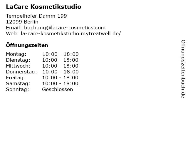 LaCare Kosmetikstudio in Berlin: Adresse und Öffnungszeiten