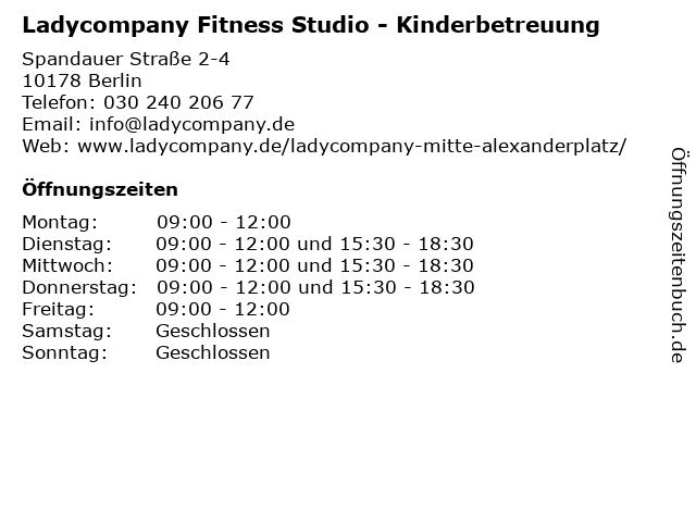 Ladycompany Fitness Studio - Kinderbetreuung in Berlin: Adresse und Öffnungszeiten