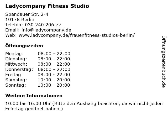 Ladycompany Fitness Studio in Berlin: Adresse und Öffnungszeiten