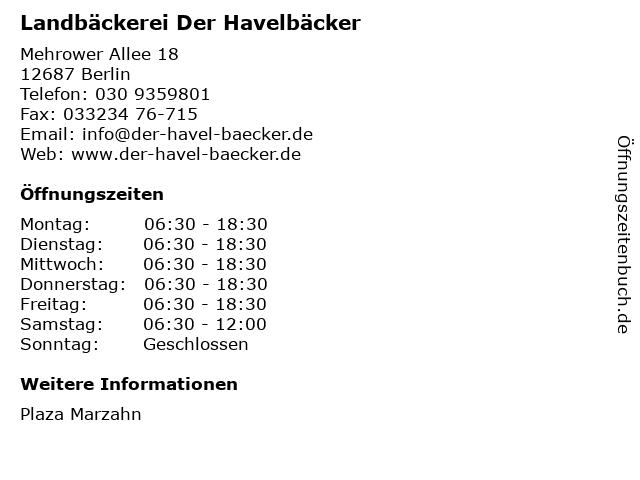 Landbäckerei Der Havelbäcker in Berlin: Adresse und Öffnungszeiten