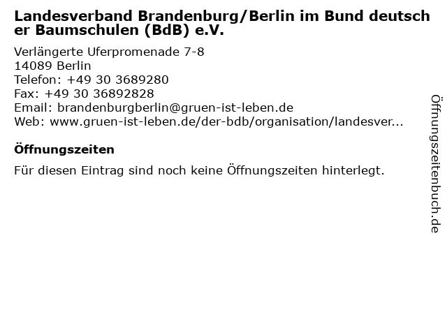 Landesverband Brandenburg/Berlin im Bund deutscher Baumschulen (BdB) e.V. in Berlin: Adresse und Öffnungszeiten