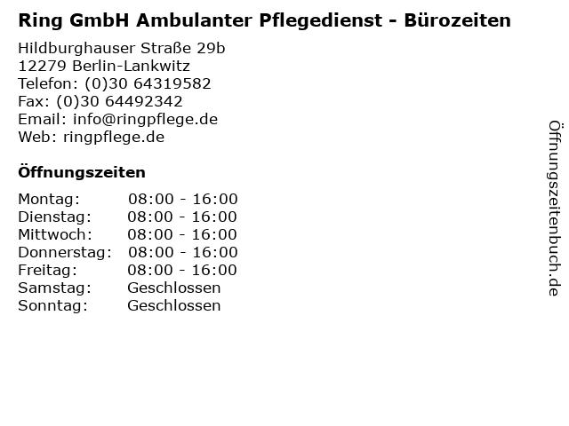 Ring GmbH Ambulanter Pflegedienst - Bürozeiten in Berlin-Lankwitz: Adresse und Öffnungszeiten