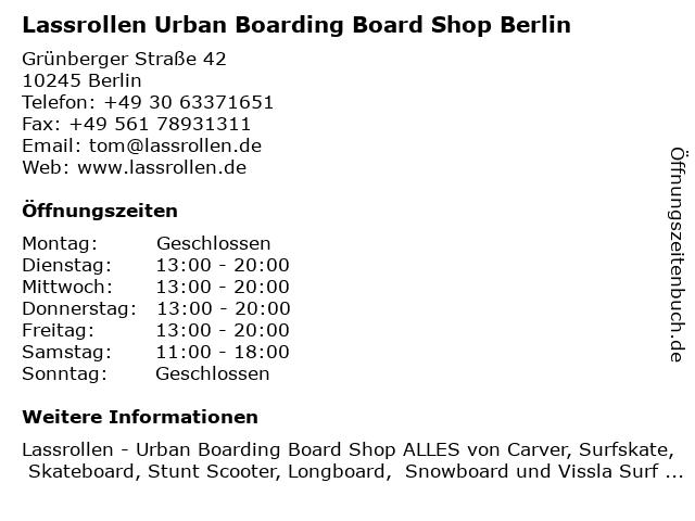 Lassrollen Lonbgboard und Skateboard Shop Berlin in Berlin: Adresse und Öffnungszeiten