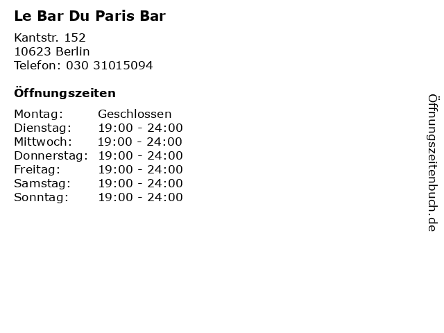 Le Bar Du Paris Bar in Berlin: Adresse und Öffnungszeiten
