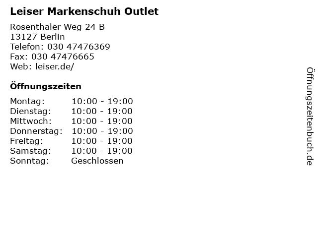 """0585666862725c ᐅ Öffnungszeiten """"Leiser Markenschuh Outlet"""""""