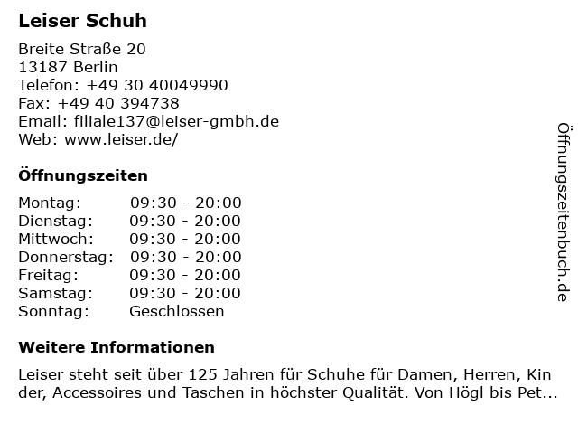Leiser Schuh in Berlin: Adresse und Öffnungszeiten