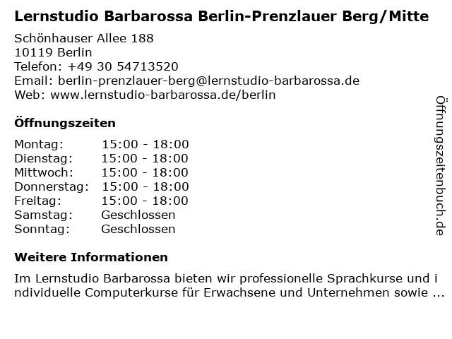Lernstudio Barbarossa Berlin-Prenzlauer Berg/Mitte in Berlin: Adresse und Öffnungszeiten