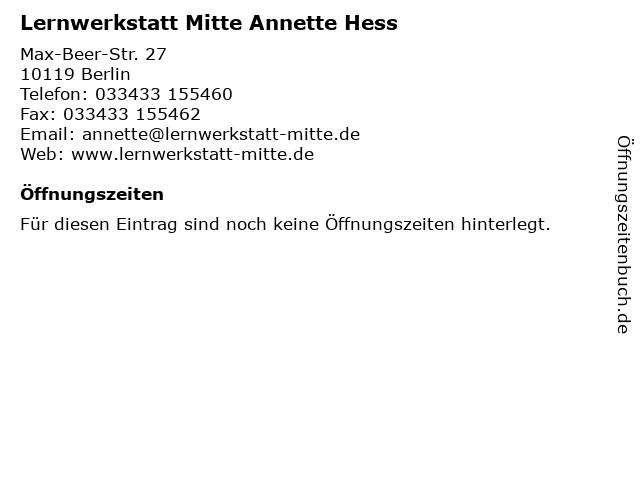 Lernwerkstatt Mitte Annette Hess in Berlin: Adresse und Öffnungszeiten