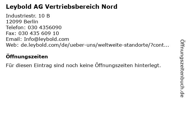 Leybold AG Vertriebsbereich Nord/Ost in Berlin: Adresse und Öffnungszeiten