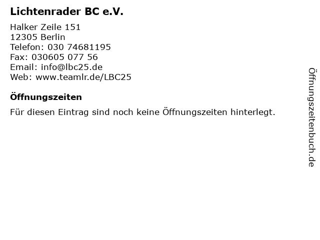 Lichtenrader BC e.V. in Berlin: Adresse und Öffnungszeiten
