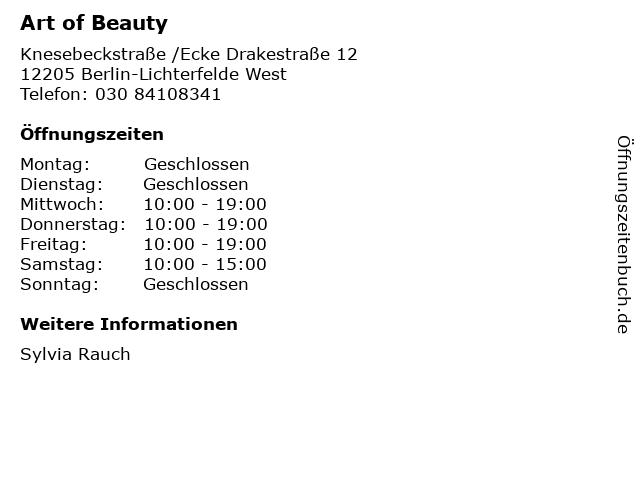 Art of Beauty in Berlin-Lichterfelde West: Adresse und Öffnungszeiten