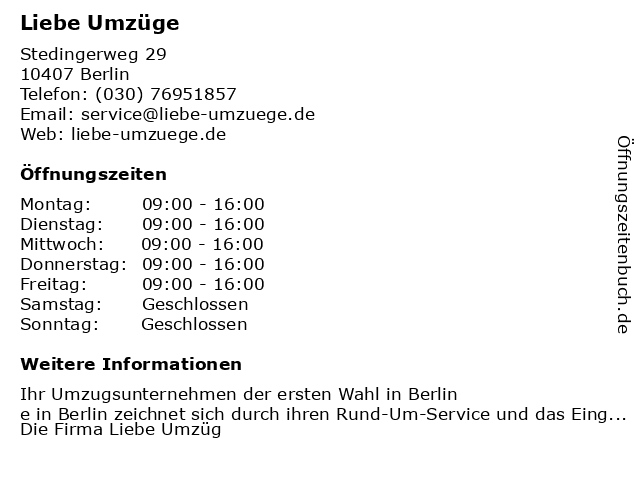 Liebe Umzüge in Berlin: Adresse und Öffnungszeiten