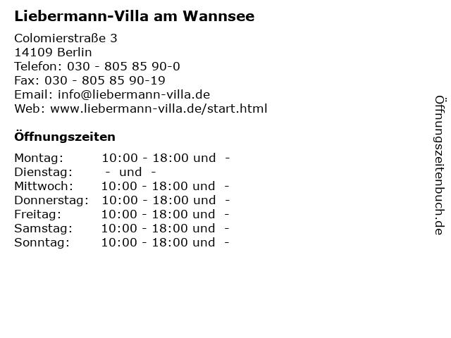 Liebermann-Villa am Wannsee in Berlin: Adresse und Öffnungszeiten
