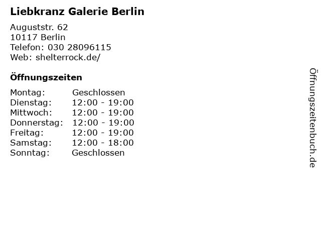 Liebkranz Galerie Berlin in Berlin: Adresse und Öffnungszeiten
