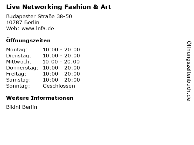 Live Networking Fashion & Art in Berlin: Adresse und Öffnungszeiten