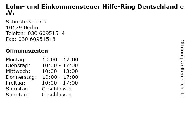 Lohn- und Einkommensteuer Hilfe-Ring Deutschland e.V. in Berlin: Adresse und Öffnungszeiten