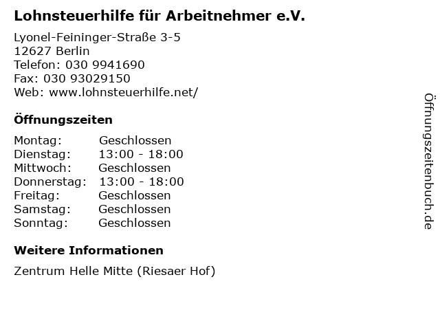 Lohnsteuerhilfe für Arbeitnehmer e.V. in Berlin: Adresse und Öffnungszeiten