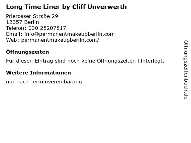 Long Time Liner by Cliff Unverwerth in Berlin: Adresse und Öffnungszeiten