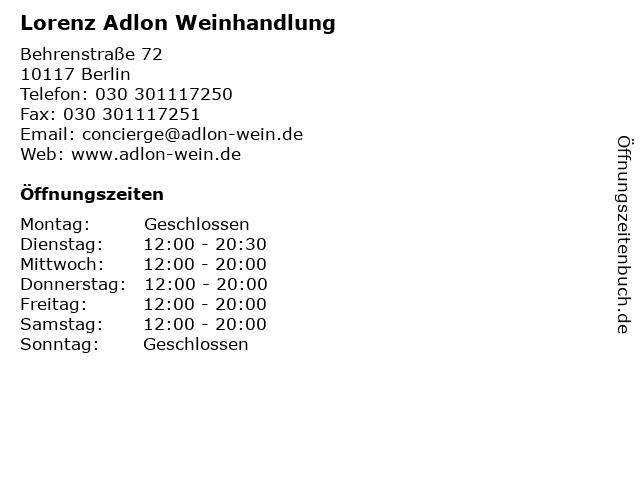 Lorenz Adlon Weinhandlung in Berlin: Adresse und Öffnungszeiten